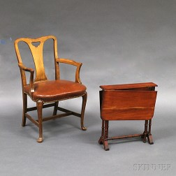 Queen Anne-style Walnut Armchair and a Turned Mahogany Tuckaway Table