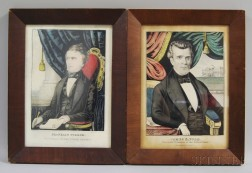 Two Framed Hand-colored Engravings of Franklin Pierce and James K. Polk