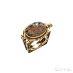 14kt Gold and Hardstone Scarab Ring