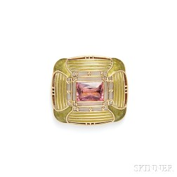 Arts & Crafts 18kt Gold, Plique-a-Jour Enamel, and Pink Tourmaline Brooch,   Tiffany & Co.