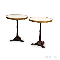 Pair of Marble-top Cast Iron Garden Tables.     Estimate $150-200