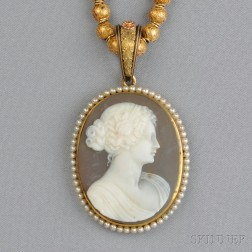 Etruscan Revival 14kt Gold Bead Necklace and Hardstone Cameo Pendant