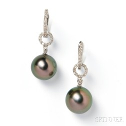 18kt White Gold, Tahitian Pearl, and Diamond Earpendants