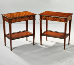 Pair of Louis XVI-style Parquetry Tables