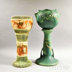Two Art Pottery Jardinieres on Pedestals