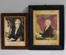 Two Framed Hand-colored Lithographs of James Monroe and Andrew Jackson