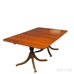 Federal-style Carved Mahogany Double-pedestal Dining Table