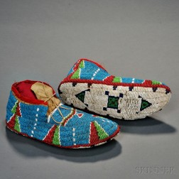 Lakota Fully Beaded Hide Moccasins