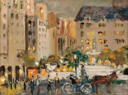 Vladimir Lebedev (Russian/American, 1910-1989)      New York City with Hackney Carriage