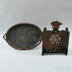 North African Copper and Bronze Hanukkah Lamp and a   Two-handled Tray with Scene Depicting Moses and the Ten Commandments,