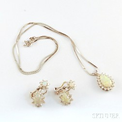14kt White Gold, Opal, and Diamond Earrings and Pendant