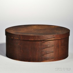 Shaker Brown-stained Covered Oval Box