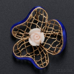 14kt Gold, Enamel, and Carved Coral Pansy Brooch