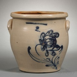 Cobalt-decorated Stoneware Crock with Flower Motif