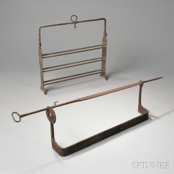 Wrought Iron Standing Broiler and Roasting Spit with Rack