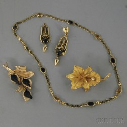 Group of Gold, Garnet, and Pearl Jewelry