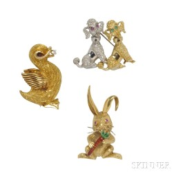 Three Gold Figural Brooches