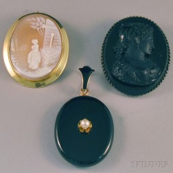 Three Pieces of Cameo and Memorial Jewelry