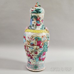 Tall Enameled Porcelain Vase and Cover