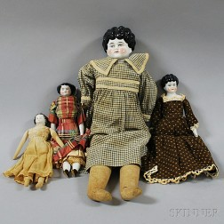 Three China Shoulder Head Dolls and One Small China Head Doll