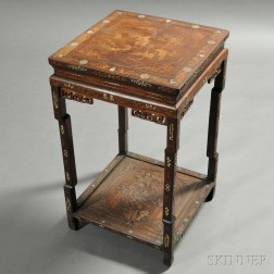Inlaid Square Wood Stand
