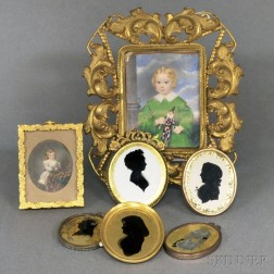 Two Framed Portrait Miniatures and Five Small Silhouette Portraits