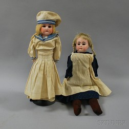Two Blonde Bisque Shoulder Head Girl Dolls