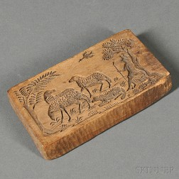 Sheep-carved Wooden Butter Mold from Kalona, Iowa