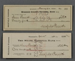 Parrish, Maxfield (1870-1966) Two Signed Personal Checks, 1932 and 1934.