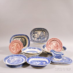 Thirteen Pieces of Transfer-decorated Willow-pattern Pottery