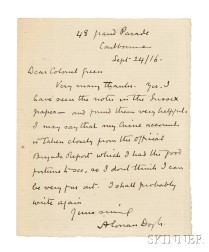 Doyle, Sir Arthur Conan (1859-1930) Autograph Letter Signed, 24 September 1916.
