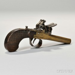 Belgian Brass Double-barrel Flintlock Pistol