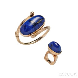 14kt Gold and Lapis Bracelet and Ring