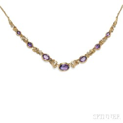 Arts & Crafts Gold and Amethyst Necklace, Attributed to Edward Oakes