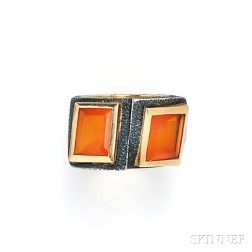 "Blackened Silver, 18kt Gold, and Fire Opal ""Crossover"" Ring, Marilyn Cooperman"