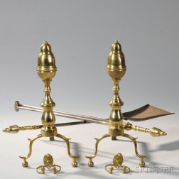 Pair of Federal Brass and Iron Acorn-top Andirons, Tools, and Jamb Hooks