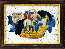 """Framed Reverse-painted Glass """"Tinsel"""" Picture of a Basket of Fruit"""