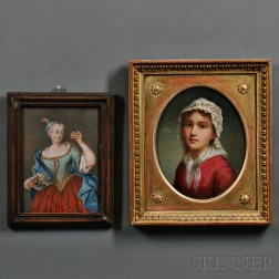 Two Framed Portraits of Women:    Woman with a Bowl of Fruit