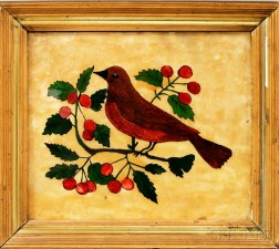 """Framed Reverse-painted Glass """"Tinsel"""" Picture of a Bird and Berries"""