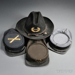 Three Post-war Kepis and a G.A.R. Slouch Hat