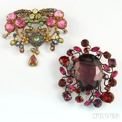 Two Colorful Costume Brooches
