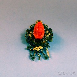 Victorian 14kt Gold and Carved Coral Pendant/Brooch
