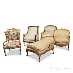Five French-style Carved and Gilt Armchairs