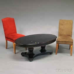 Classical-style Mahogany Coffee Table and Two Upholstered Side Chairs