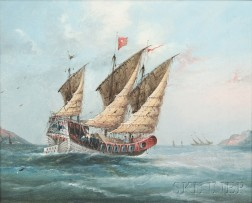 Continental and American School, 19th/20th Century, Three Oil Paintings of Sailing Vessels: Square-rigged Ship at Sea, Small Fishing Bo