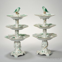 Pair of Herend Three-tier Porcelain Cake Stands
