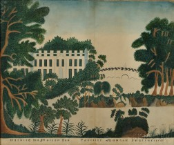 American School, 19th Century      Schoolgirl Painting of a Manor House and Grounds.