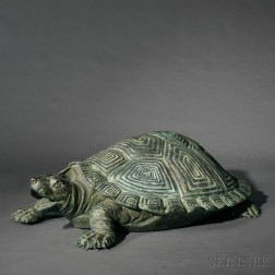 Ricardo Ponzanelli (20th/21st Century)       Bronze Figure of a Large Turtle