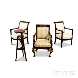 Three Empire-style Gilt-bronze-mounted Carved Mahogany Armchairs and a Stand