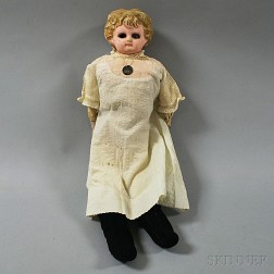 Blonde Papier-mache Shoulder Head Girl Doll